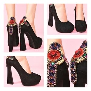 Jeffrey Campbell Suede Jewel Cross Eva Platform